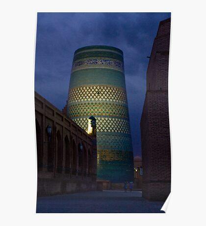 Khiva minaret at dusk Poster