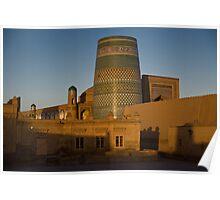 Khiva walls at dawn Poster