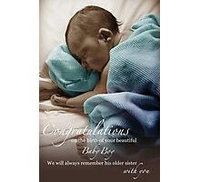 Newborn Baby Boy Remembering His Sister Photographic Print