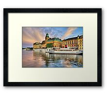 Boats anchored at sunset. Framed Print