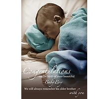Newborn Baby Boy Remembering His Brother Photographic Print