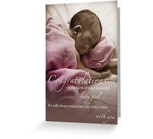 Newborn Baby Girl Remembering Her Sister Greeting Card