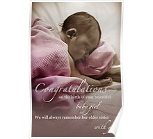 Newborn Baby Girl Remembering Her Sister Poster