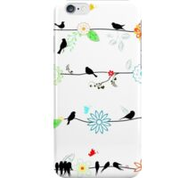 Birds on a wire with brightly colored flowers. iPhone Case/Skin