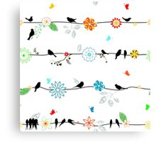 Birds on a wire with brightly colored flowers. Canvas Print