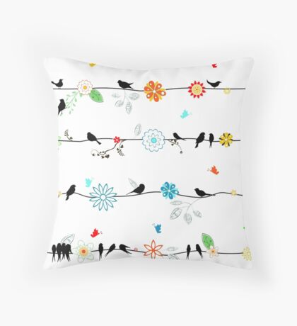 Birds on a wire with brightly colored flowers. Throw Pillow