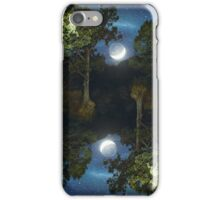 Moonset in coniferous forest iPhone Case/Skin