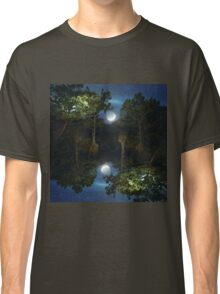 Moonset in coniferous forest Classic T-Shirt