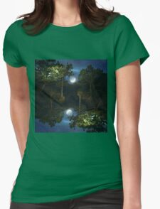 Moonset in coniferous forest Womens Fitted T-Shirt