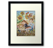 boy and girl on the farm Framed Print