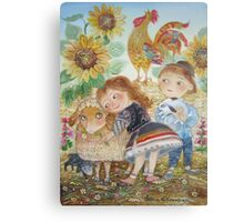 boy and girl on the farm Canvas Print