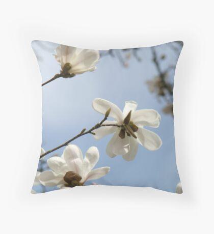 White Magnolia Flower Tree art prints Spring Throw Pillow