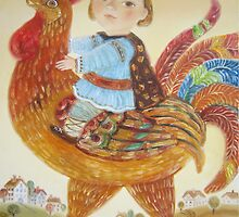 boy riding a rooster by artistelena