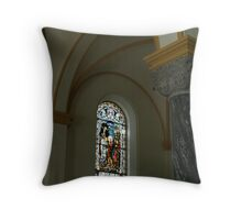 stained glass in the archabbey Throw Pillow