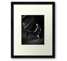 Black and white stairway Framed Print