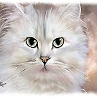 White Persian Cat by ellenspaintings