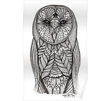 hand drawn portrait of an owl - black and white Poster