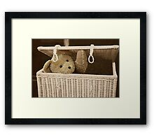 Sssh...they'll never find me in here! Framed Print