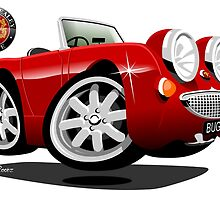 Austin Healey Bugeye caricature customized for Chris by car2oonz