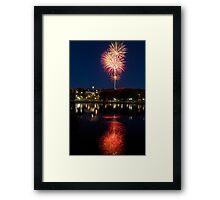 Small Town Fireworks Framed Print