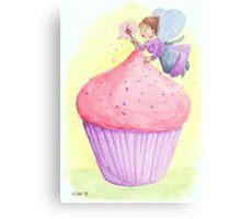Cherry fairy makes a cupcake Canvas Print