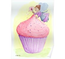Cherry fairy makes a cupcake Poster