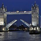 Tower Bridge Raised at Night by Chris Monks