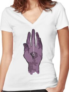 worlds hand, cartoon style!! (i guess) Women's Fitted V-Neck T-Shirt