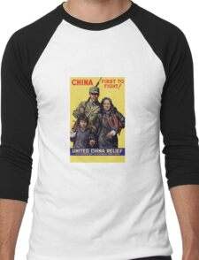 China First To Fight -- WWII Men's Baseball ¾ T-Shirt