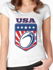 Rugby Ball Shield USA Women's Fitted Scoop T-Shirt
