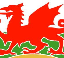 Welsh dragon rugby ball Wales Flag Sticker