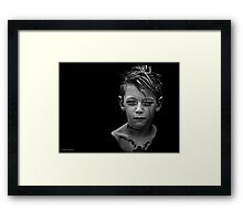 Another day, another boy who's tattoos are temporary but whose love for darkness and the macabre is likely to last a while longer. Framed Print