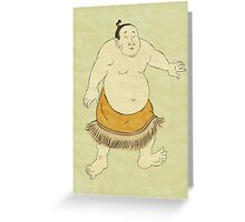Japanese Sumo wrestler in fighting stance print Greeting Card