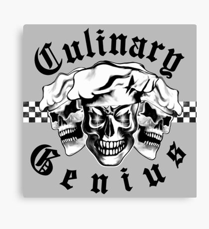 Chef Skull Trio: Culinary Genius (black text) Canvas Print