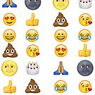 Top emoji collection - poop, smiley face, moon face & friends by redcow