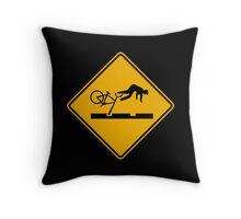 Warning MAX Tracks Traffic Warning Sign, Portland, Oregon Throw Pillow