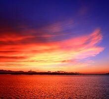 fiery sky at sunset by lensbaby