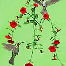 Ruby_throated Hummingbirds (3d Version) by Walter Colvin