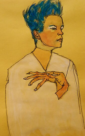 After Egon Schiele (Austria 1890-1918) 'Self Portrait with hands on chest'. 1910 © by Elizabeth Moore Golding