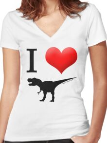 I Heart Dinos Women's Fitted V-Neck T-Shirt
