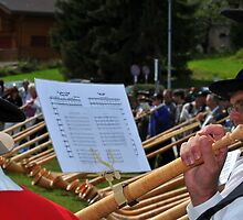 alpine horn player by neil harrison