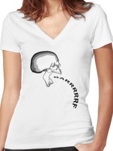 Barfing Skull Women's Fitted V-Neck T-Shirt