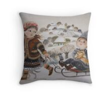Children sledding Throw Pillow