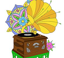 'Funky Music' Retro Gramophone Graphic Illustration by bblane