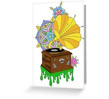 'Funky Music' Retro Gramophone Graphic Illustration Greeting Card