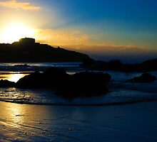 Sunset over Newquay harbour  by Rob Hawkins
