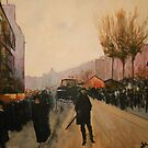 Side Street of Paris at Dusk from Luigi Loir by Jsimone