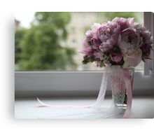 bridal bouquet on the window Canvas Print