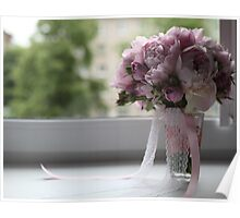 bridal bouquet on the window Poster