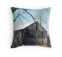 Wooden Barn at Wintertime Throw Pillow